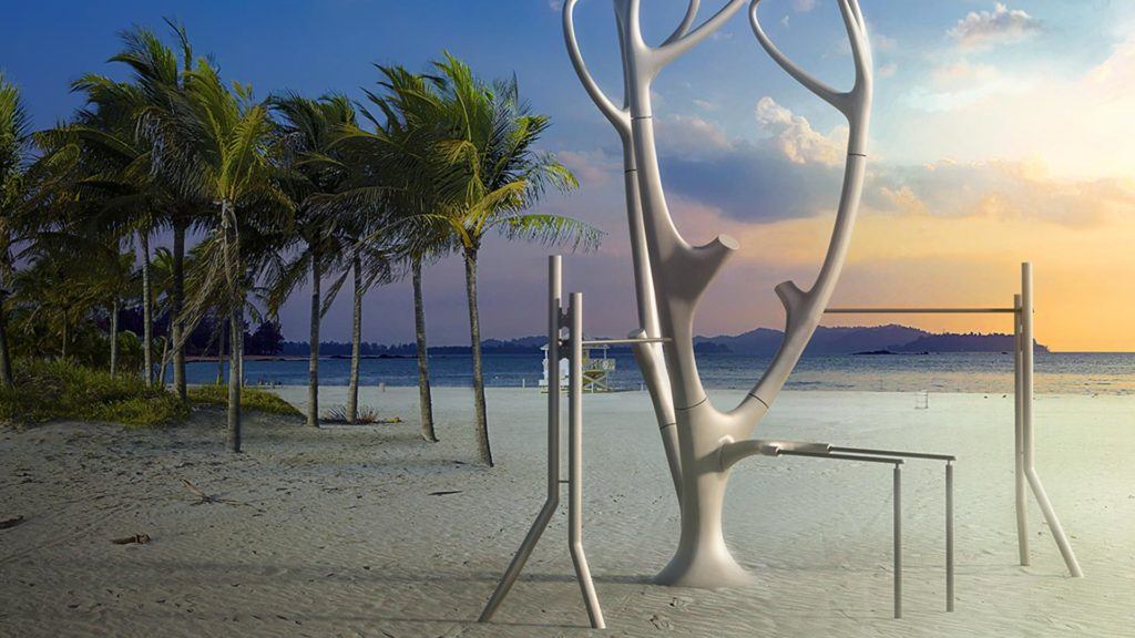 a statue of a sandy beach